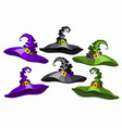 cartoon witch hats set isolated on white vector image vector image