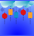 chinese lantern with clouds background vector image vector image
