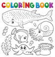coloring book ocean life theme 1 vector image vector image