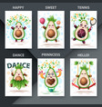 cute set avocado - set for your idea vector image