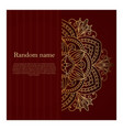 dark burgundy card with golden mandala vector image vector image