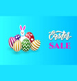 easter sale banner template with bunny and easter vector image vector image