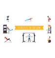 fitness exercises flat set vector image vector image