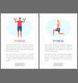 fitness people man and woman weightlifting website vector image vector image