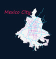 flat color map of mexico city mexico city plan of vector image
