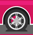 flat tire on car vector image vector image