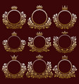 floral coat of arms frames with crowns vector image
