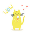 funny cat eating ice cream funny vector image