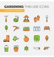 Gardening Thin Line Icons Set vector image vector image