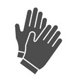 gloves solid icon garden glove vector image vector image