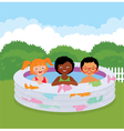 Group of children in an inflatable pool vector image vector image