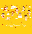 happy valentine day card with hanging cupid angels vector image vector image