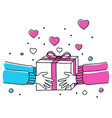 human hands giving gift box vector image vector image