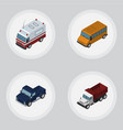 isometric car set of freight suv first-aid and vector image vector image