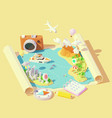 isometric summer travel and vacation vector image