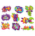 kids zones set children playground game room or vector image