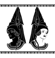 Ladies in medieval hats stencil vector image vector image