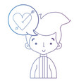 line cute man with hairstyle and chat bubble vector image vector image