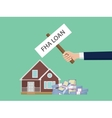 loan fha with hand holding a poster vector image