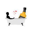 lover alcohol drink man and bottle of whiskey in vector image vector image