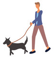 man walking with dog on leash isolated character vector image