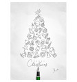 pen line drawing christmas tree vector image