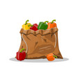 pepper bell vegetable in canvas bag vector image vector image