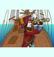 pirate captain watching long glass vector image vector image