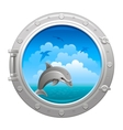 Porthole icon with sea sky summer landscape and vector image