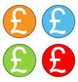 Pound money sign button set vector image