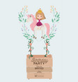 princess with unicorn and label wooden invitation vector image vector image
