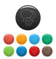 rain icons set color vector image vector image
