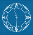 roman numeral clock icon blueprint background vector image vector image
