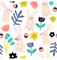 seamless childish pattern with pink bunny flowers vector image vector image