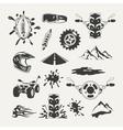 set extreme sports emblems badges labels and vector image