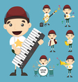 Set of boy and music vector image vector image