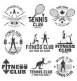 set of fitness and tennis club concept with girls vector image vector image