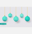 set of realistic green christmas balls with vector image vector image