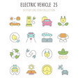 set retro icons electric vehicle vector image vector image