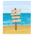 signpost in the seashore and sea vector image vector image
