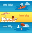 Summer Holidays Banner with Sexy Girl on Beach vector image vector image