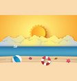 summer time sea with beach paper art style vector image