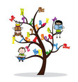 tree with the alphabet and children reading vector image vector image