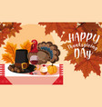 turkey with pilgrim hat and set icons in table vector image vector image