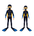 two young scuba divers vector image vector image
