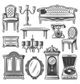 vintage furniture elements set vector image vector image