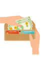 woman hands taking cash out from wallet vector image