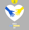 world down syndrome day poster vector image vector image