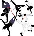 Capoeira fighter or breakdancer silhouettes vector image