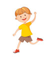 cheerful boy runs with raised hand isolated vector image